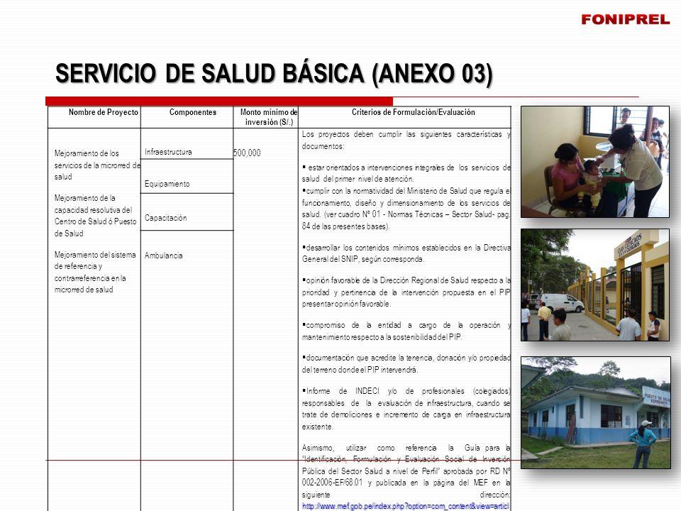 SERVICIO DE SALUD BÁSICA (ANEXO 03) SERVICIO DE SALUD BÁSICA (ANEXO 03) Nombre de ProyectoComponentes Monto mínimo de inversión (S/.) Criterios de For