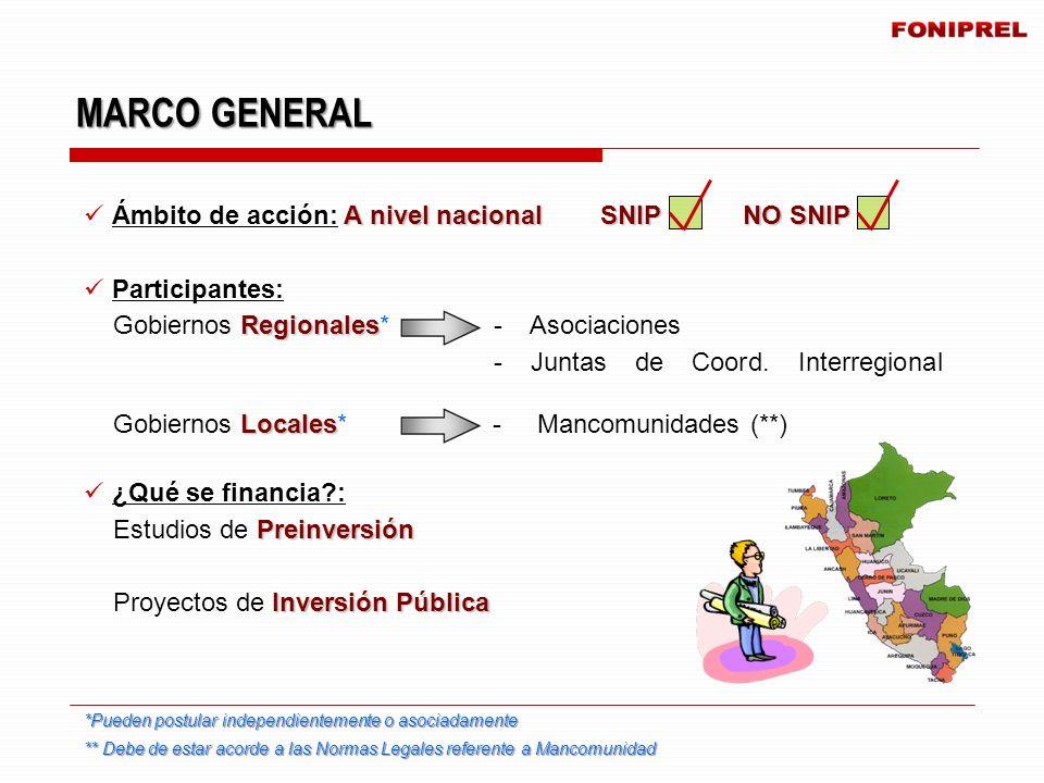 A nivel nacional SNIP NO SNIP Ámbito de acción: A nivel nacional SNIP NO SNIP Participantes: Regionales Gobiernos Regionales* - Asociaciones - Juntas