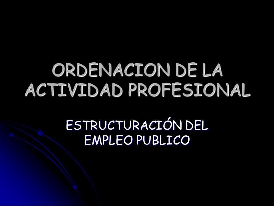 ORDENACION DE LA ACTIVIDAD PROFESIONAL ESTRUCTURACIÓN DEL EMPLEO PUBLICO