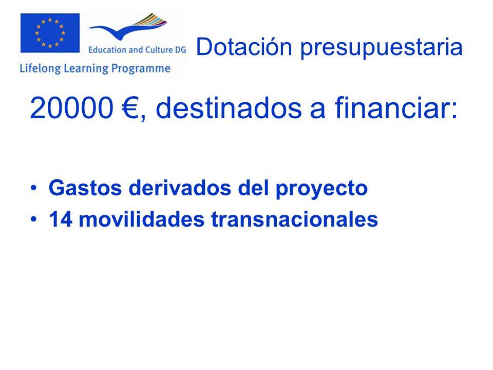 Dotación presupuestaria 20000, destinados a financiar: Gastos derivados del proyecto 14 movilidades transnacionales