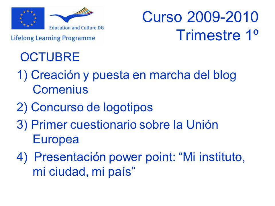 Curso 2009-2010 Trimestre 1º OCTUBRE 1) Creación y puesta en marcha del blog Comenius 2) Concurso de logotipos 3) Primer cuestionario sobre la Unión Europea 4) Presentación power point: Mi instituto, mi ciudad, mi país