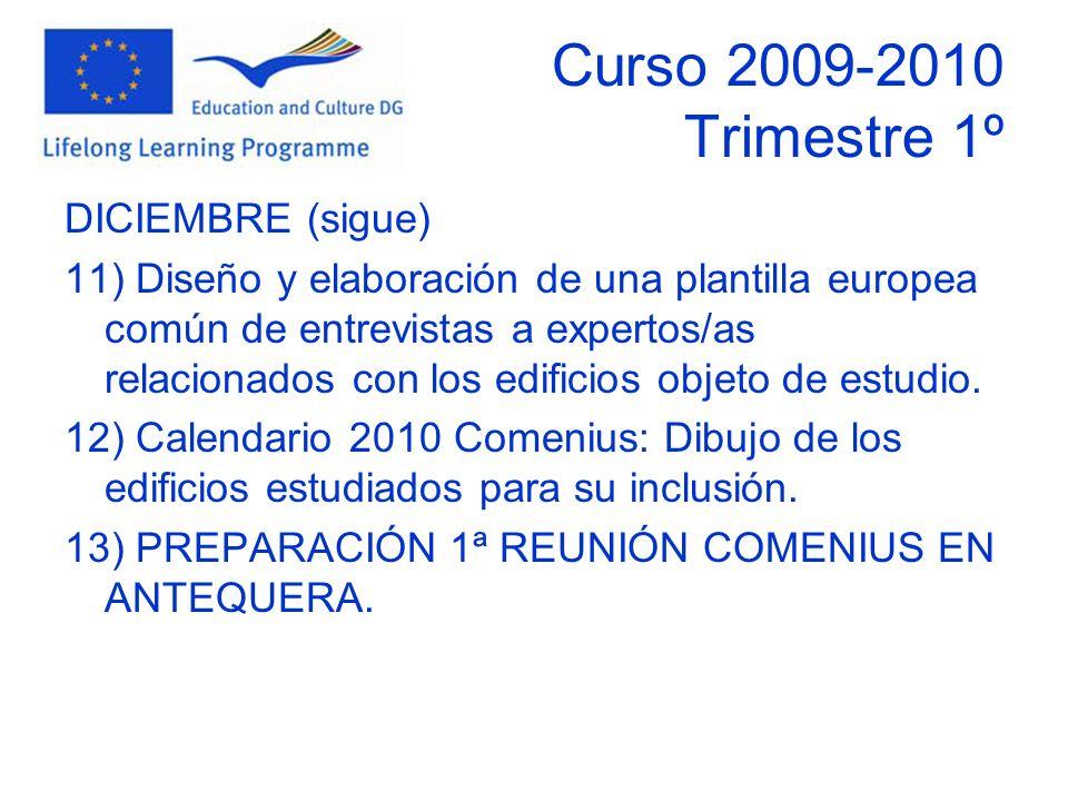 Curso 2009-2010 Trimestre 1º DICIEMBRE (sigue) 11) Diseño y elaboración de una plantilla europea común de entrevistas a expertos/as relacionados con los edificios objeto de estudio.
