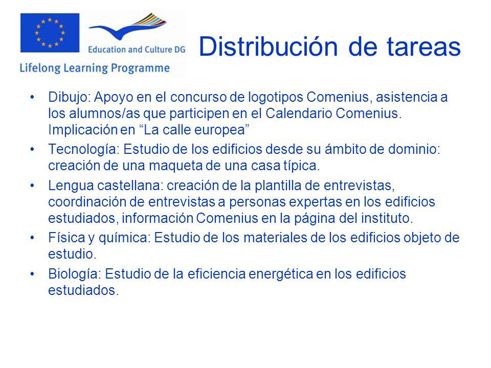 Distribución de tareas Dibujo: Apoyo en el concurso de logotipos Comenius, asistencia a los alumnos/as que participen en el Calendario Comenius.