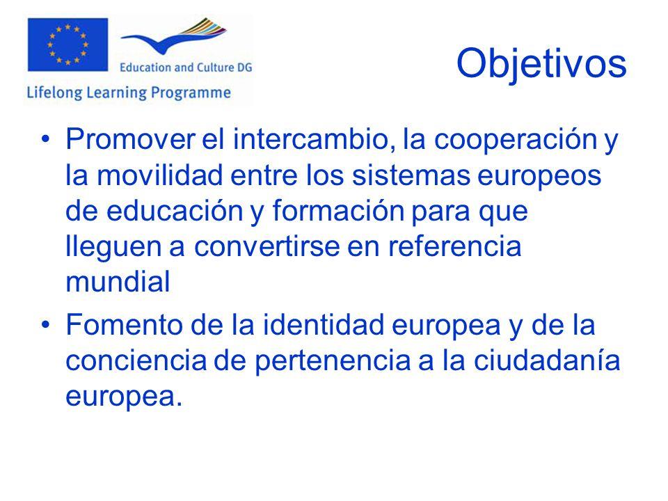 Objetivos Promover el intercambio, la cooperación y la movilidad entre los sistemas europeos de educación y formación para que lleguen a convertirse en referencia mundial Fomento de la identidad europea y de la conciencia de pertenencia a la ciudadanía europea.