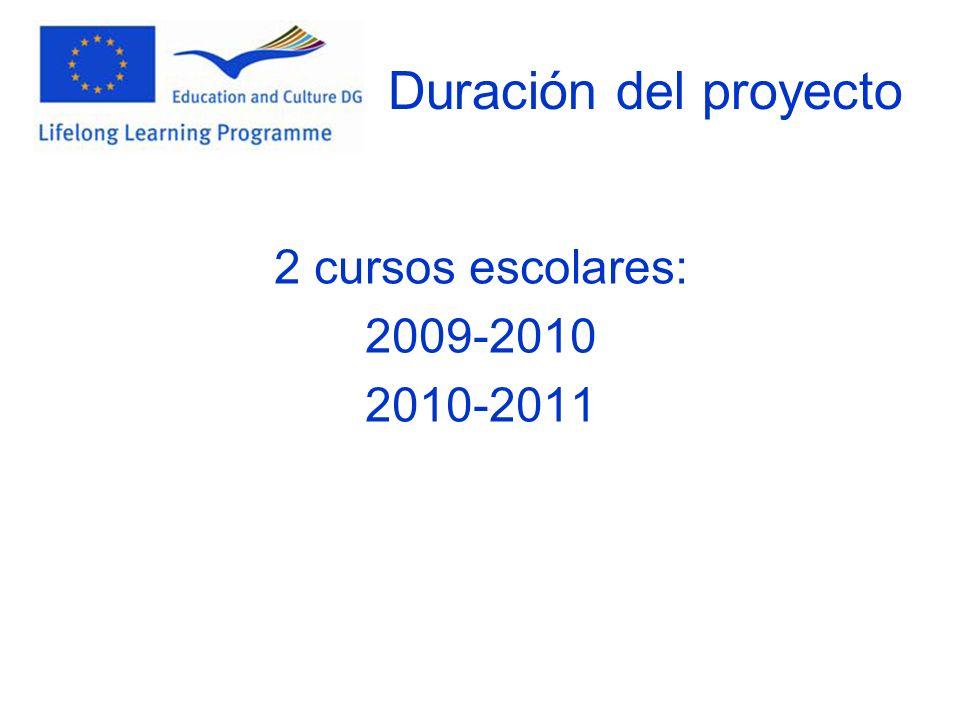 Duración del proyecto 2 cursos escolares: 2009-2010 2010-2011
