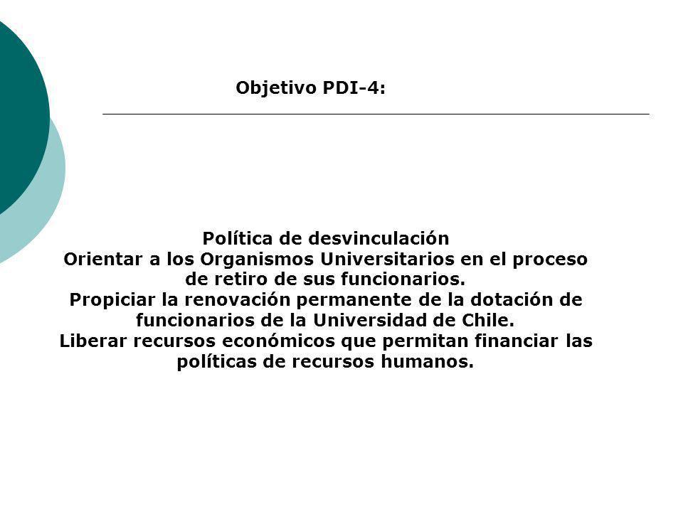 Política de desvinculación Orientar a los Organismos Universitarios en el proceso de retiro de sus funcionarios. Propiciar la renovación permanente de