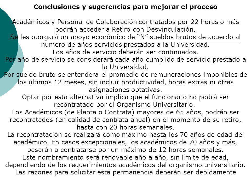 Conclusiones y sugerencias para mejorar el proceso Académicos y Personal de Colaboración contratados por 22 horas o más podrán acceder a Retiro con Desvinculación.