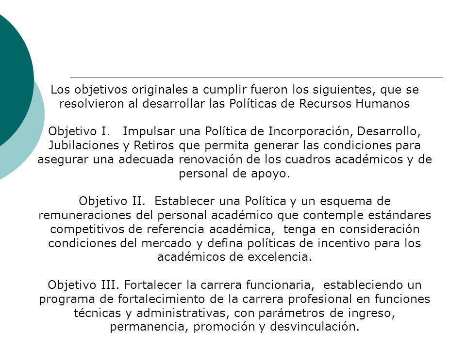 Los objetivos originales a cumplir fueron los siguientes, que se resolvieron al desarrollar las Políticas de Recursos Humanos Objetivo I.