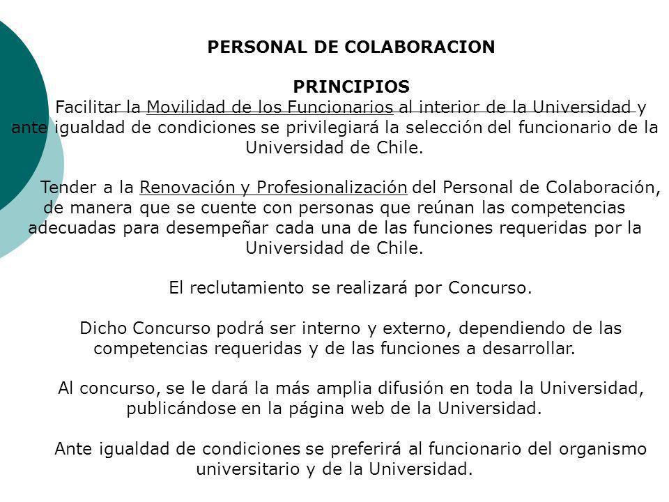 PERSONAL DE COLABORACION PRINCIPIOS Facilitar la Movilidad de los Funcionarios al interior de la Universidad y ante igualdad de condiciones se privilegiará la selección del funcionario de la Universidad de Chile.