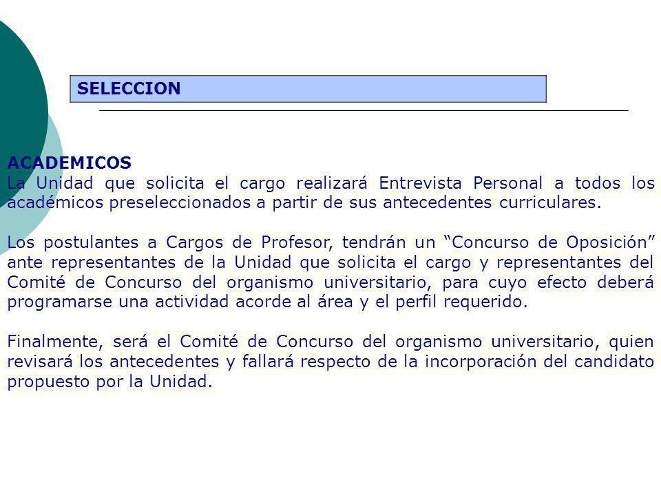 SELECCION ACADEMICOS La Unidad que solicita el cargo realizará Entrevista Personal a todos los académicos preseleccionados a partir de sus antecedentes curriculares.