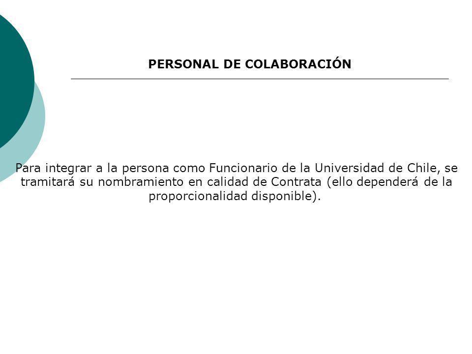 Para integrar a la persona como Funcionario de la Universidad de Chile, se tramitará su nombramiento en calidad de Contrata (ello dependerá de la proporcionalidad disponible).