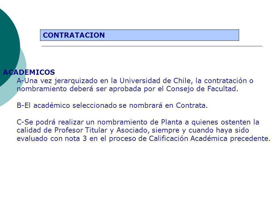 ACADEMICOS A-Una vez jerarquizado en la Universidad de Chile, la contratación o nombramiento deberá ser aprobada por el Consejo de Facultad. B-El acad
