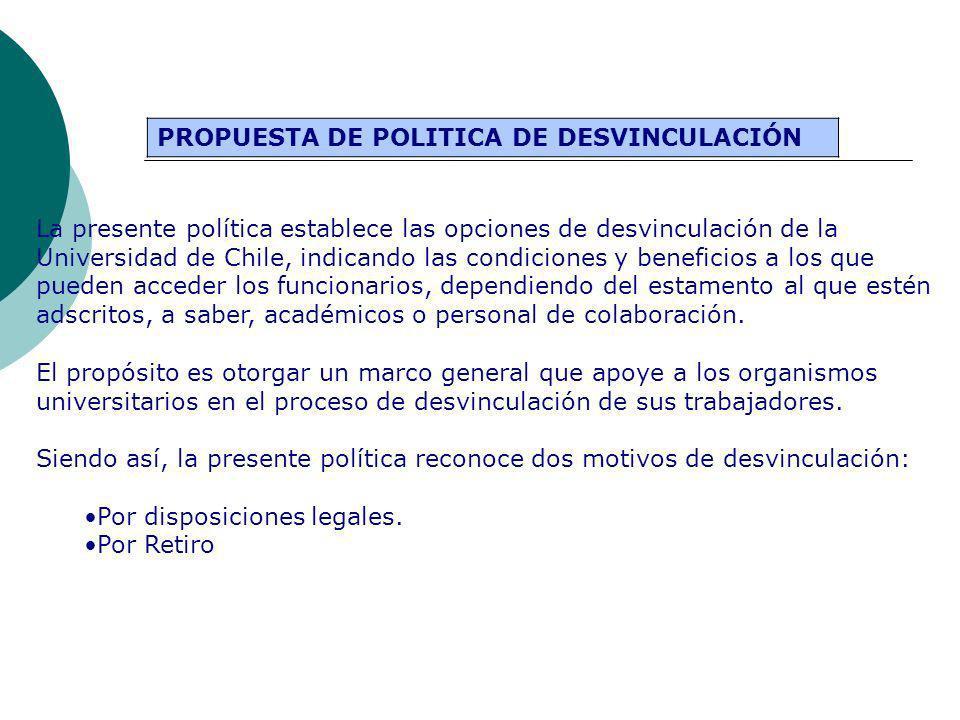 PROPUESTA DE POLITICA DE DESVINCULACIÓN La presente política establece las opciones de desvinculación de la Universidad de Chile, indicando las condic
