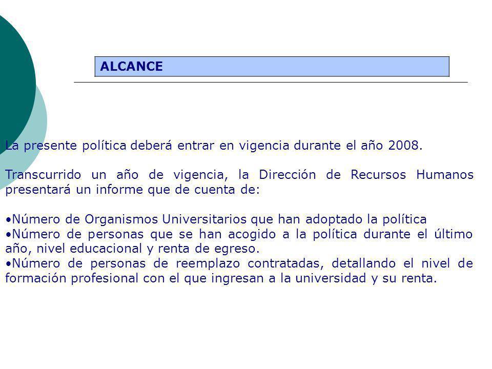 ALCANCE La presente política deberá entrar en vigencia durante el año 2008. Transcurrido un año de vigencia, la Dirección de Recursos Humanos presenta