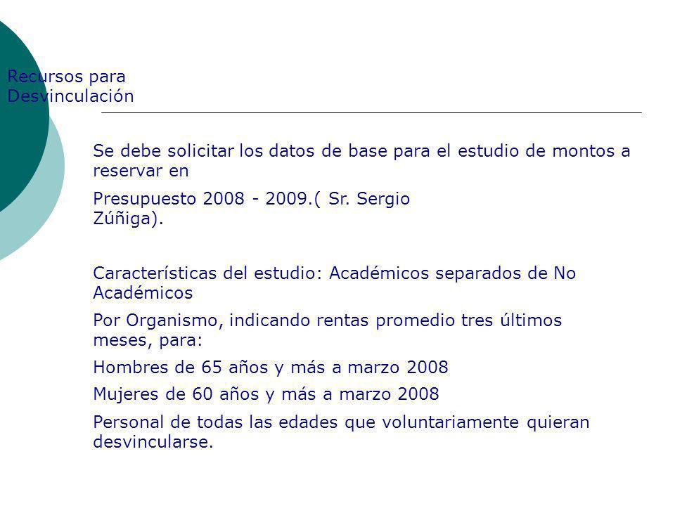 Recursos para Desvinculación Se debe solicitar los datos de base para el estudio de montos a reservar en Presupuesto 2008 - 2009.( Sr. Sergio Zúñiga).