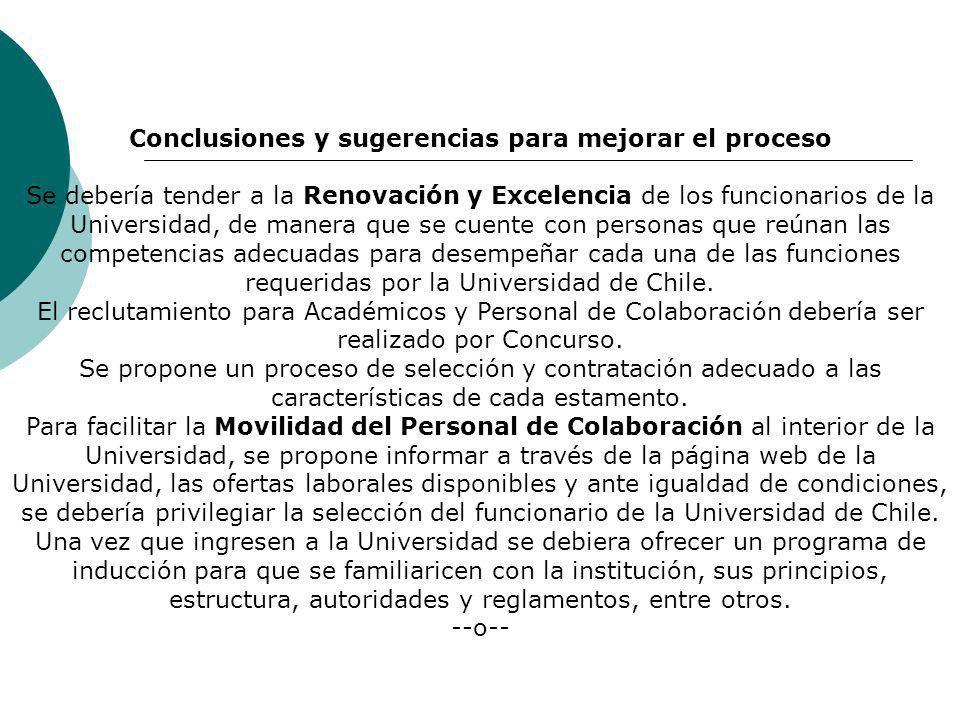 Conclusiones y sugerencias para mejorar el proceso Se debería tender a la Renovación y Excelencia de los funcionarios de la Universidad, de manera que se cuente con personas que reúnan las competencias adecuadas para desempeñar cada una de las funciones requeridas por la Universidad de Chile.