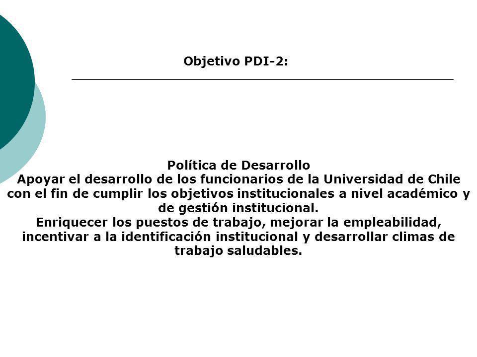 Política de Desarrollo Apoyar el desarrollo de los funcionarios de la Universidad de Chile con el fin de cumplir los objetivos institucionales a nivel académico y de gestión institucional.