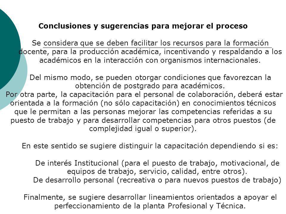 Conclusiones y sugerencias para mejorar el proceso Se considera que se deben facilitar los recursos para la formación docente, para la producción acad