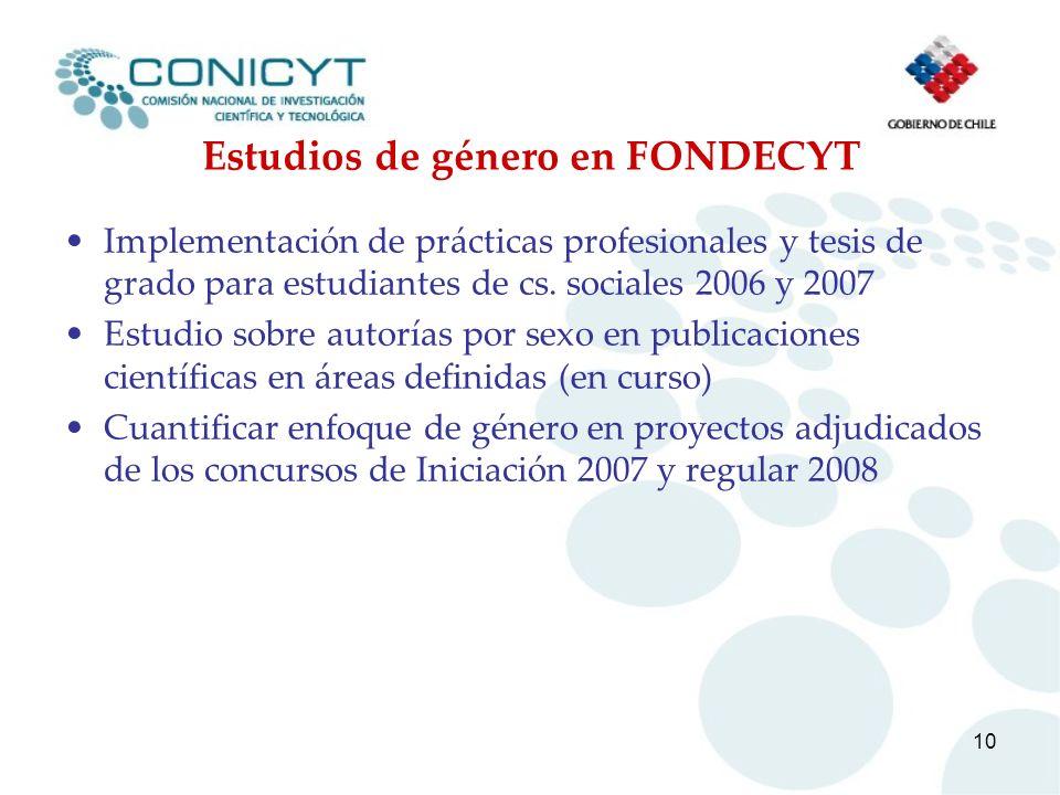 10 Estudios de género en FONDECYT Implementación de prácticas profesionales y tesis de grado para estudiantes de cs. sociales 2006 y 2007 Estudio sobr