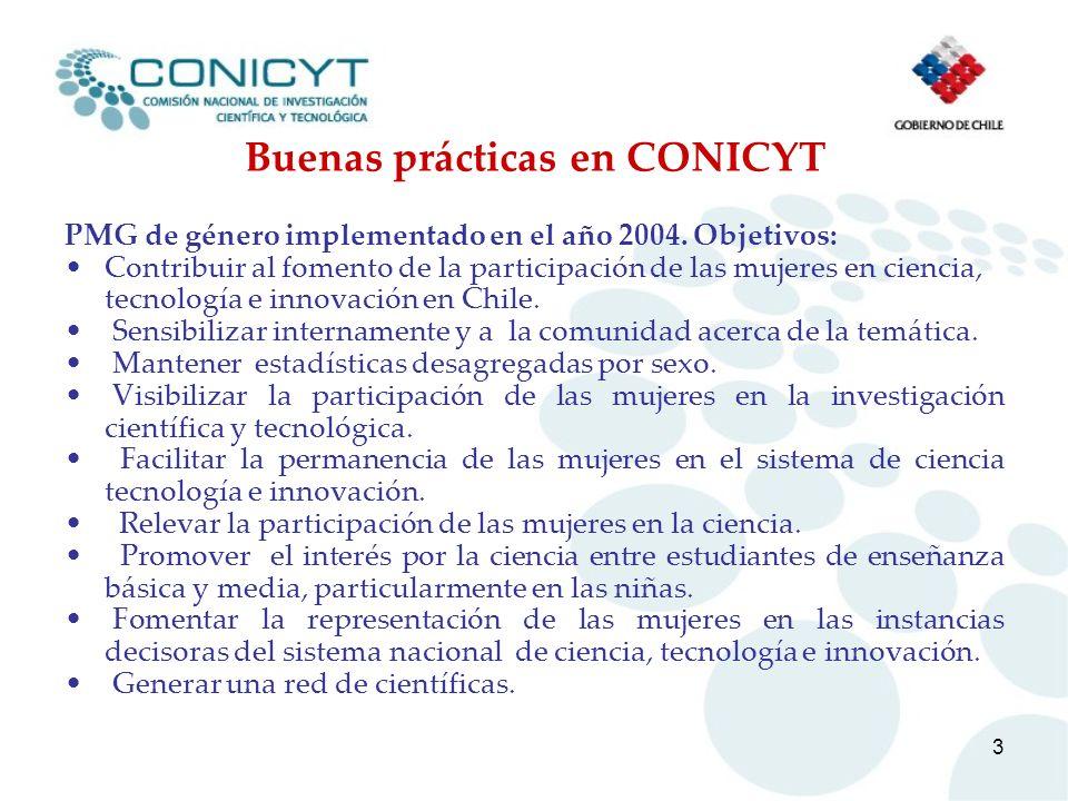 3 Buenas prácticas en CONICYT PMG de género implementado en el año 2004. Objetivos: Contribuir al fomento de la participación de las mujeres en cienci