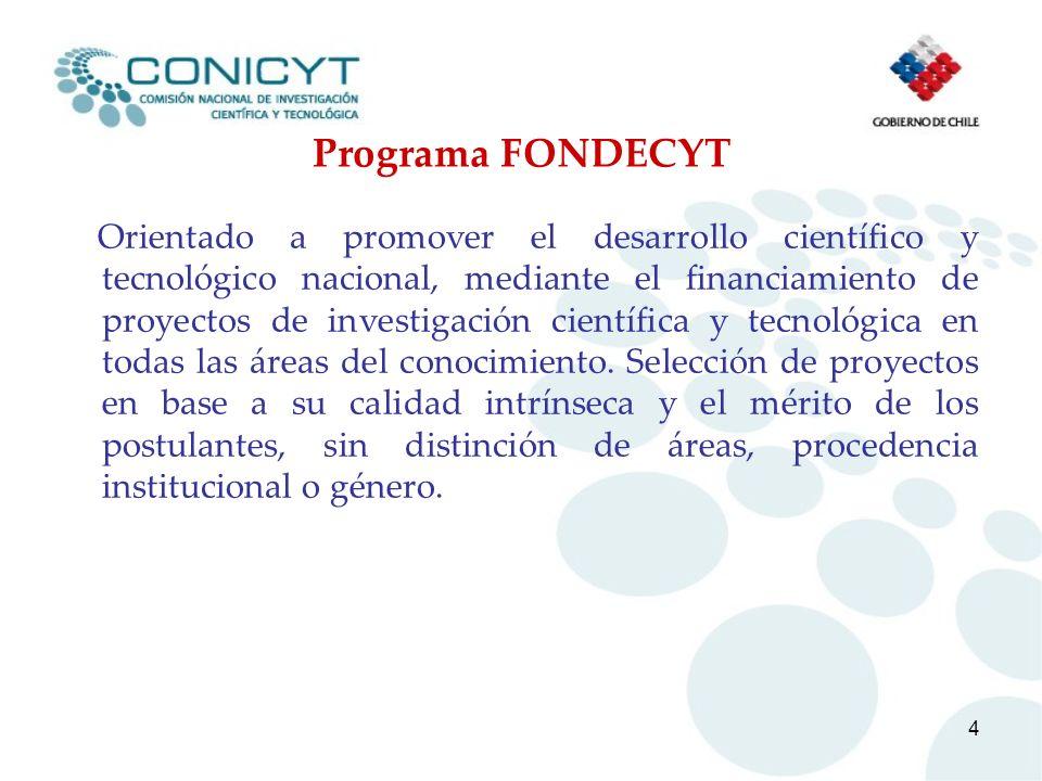 4 Programa FONDECYT Orientado a promover el desarrollo científico y tecnológico nacional, mediante el financiamiento de proyectos de investigación cie