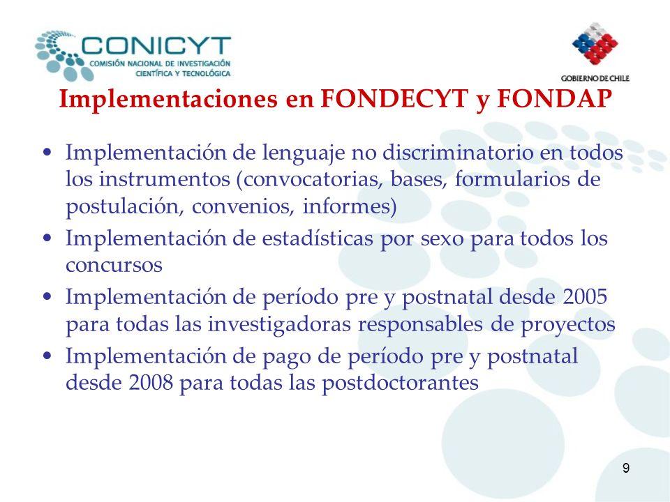 9 Implementaciones en FONDECYT y FONDAP Implementación de lenguaje no discriminatorio en todos los instrumentos (convocatorias, bases, formularios de