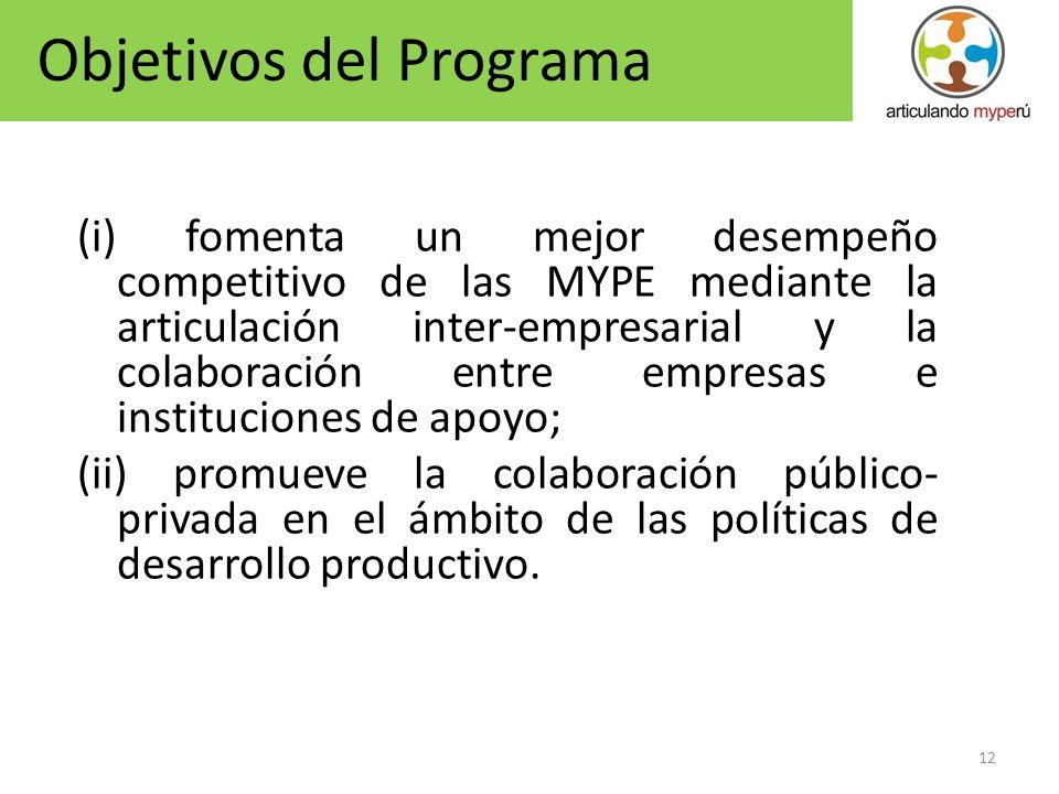 12 (i) fomenta un mejor desempeño competitivo de las MYPE mediante la articulación inter-empresarial y la colaboración entre empresas e instituciones