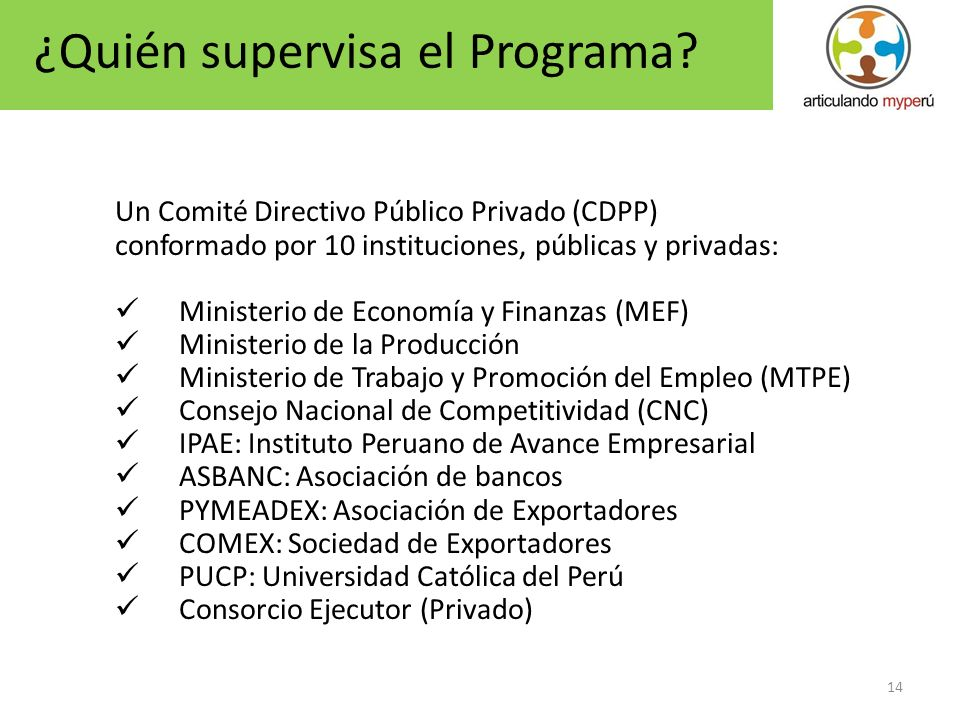 14 Un Comité Directivo Público Privado (CDPP) conformado por 10 instituciones, públicas y privadas: Ministerio de Economía y Finanzas (MEF) Ministerio