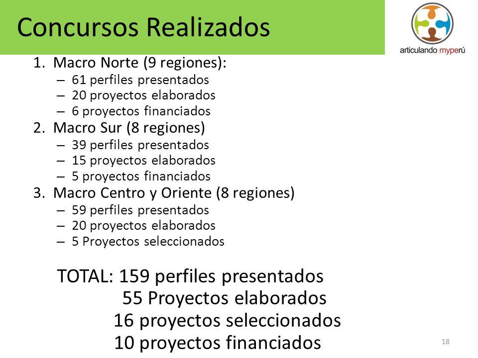 18 1. Macro Norte (9 regiones): – 61 perfiles presentados – 20 proyectos elaborados – 6 proyectos financiados 2. Macro Sur (8 regiones) – 39 perfiles