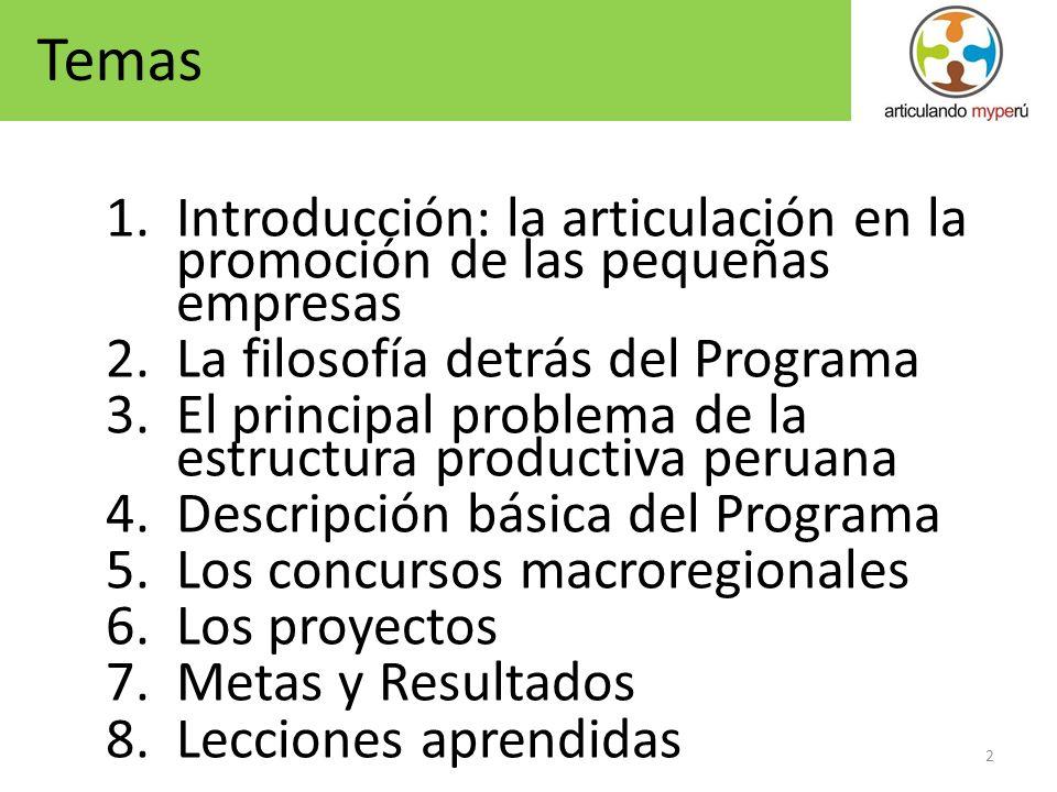 2 1.Introducción: la articulación en la promoción de las pequeñas empresas 2.La filosofía detrás del Programa 3.El principal problema de la estructura