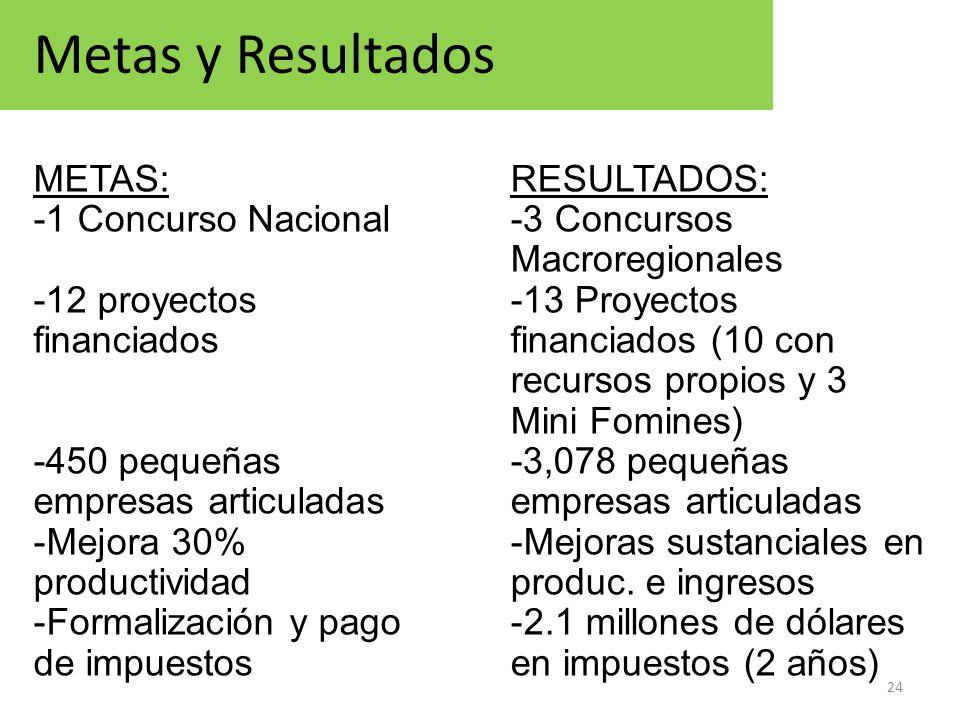 24 Metas y Resultados METAS: -1 Concurso Nacional -12 proyectos financiados -450 pequeñas empresas articuladas -Mejora 30% productividad -Formalizació
