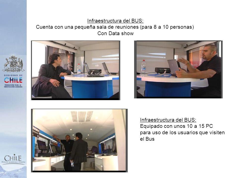 Infraestructura del BUS: Cuenta con una pequeña sala de reuniones (para 8 a 10 personas) Con Data show Infraestructura del BUS: Equipado con unos 10 a