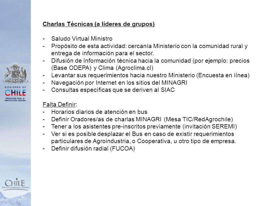 Charlas Técnicas (a líderes de grupos) -Saludo Virtual Ministro -Propósito de esta actividad: cercanía Ministerio con la comunidad rural y entrega de