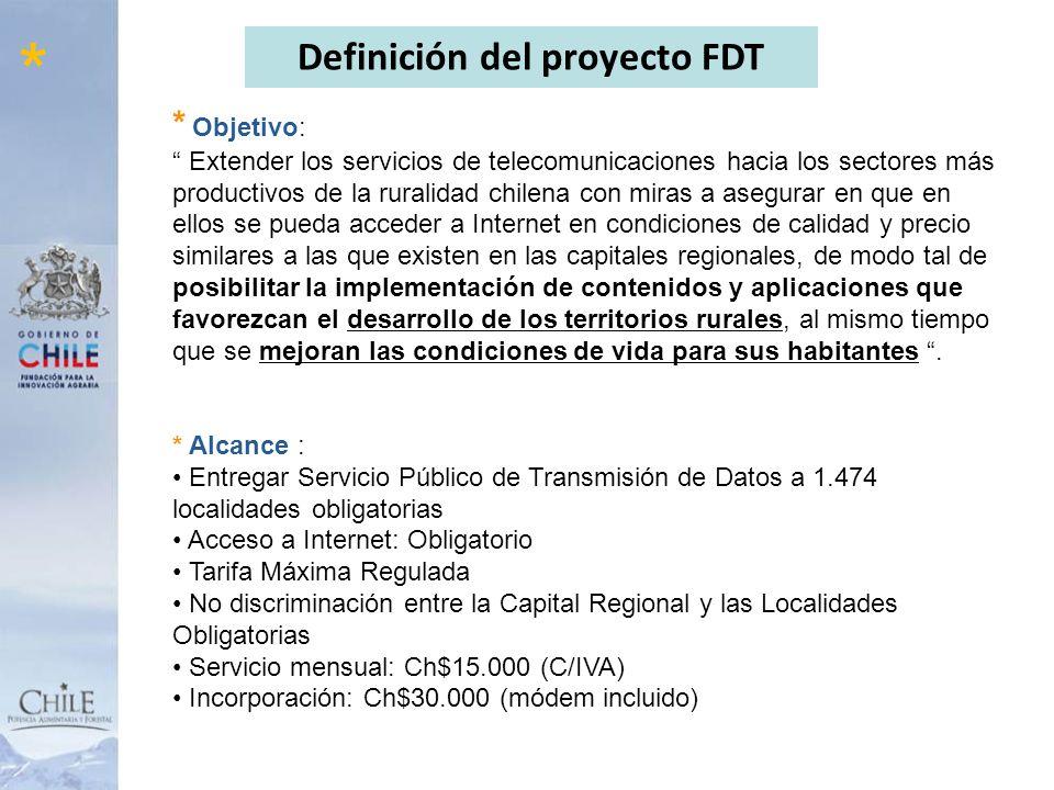 8 * Objetivo: Extender los servicios de telecomunicaciones hacia los sectores más productivos de la ruralidad chilena con miras a asegurar en que en e