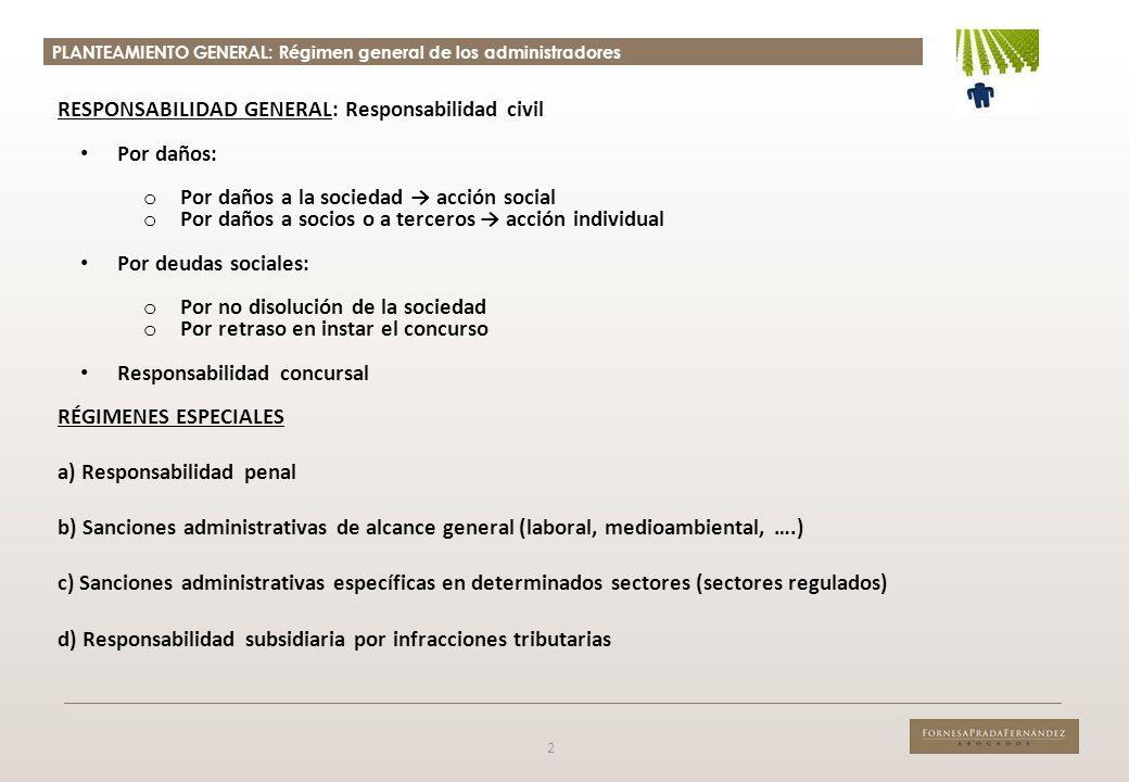 PLANTEAMIENTO GENERAL: Régimen general de los administradores 2 RESPONSABILIDAD GENERAL: Responsabilidad civil Por daños: o Por daños a la sociedad ac