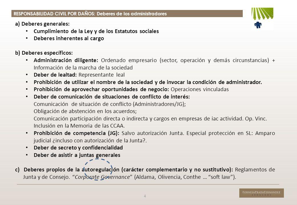 RESPONSABILIDAD CIVIL POR DAÑOS: Deberes de los administradores 4 a) Deberes generales: Cumplimiento de la Ley y de los Estatutos sociales Deberes inh