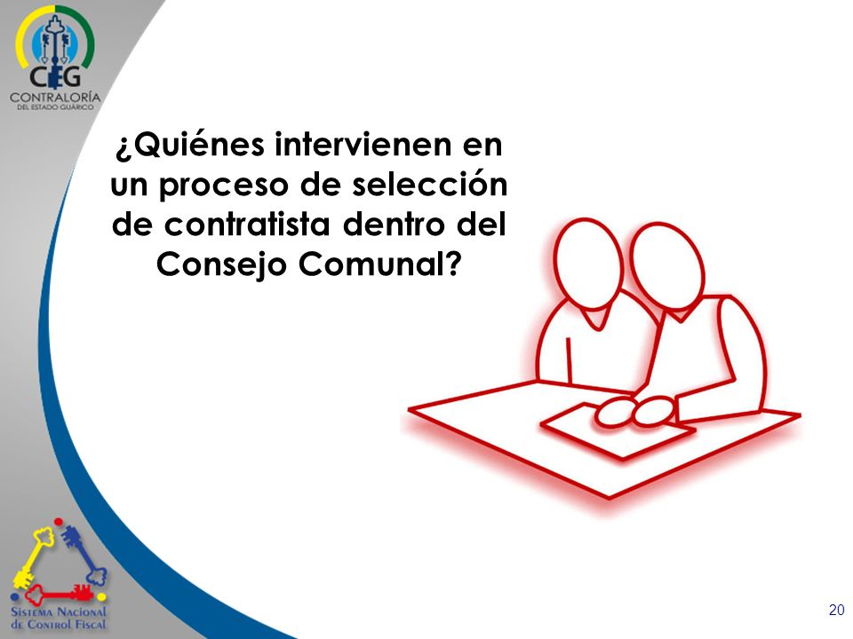 20 ¿Quiénes intervienen en un proceso de selección de contratista dentro del Consejo Comunal?