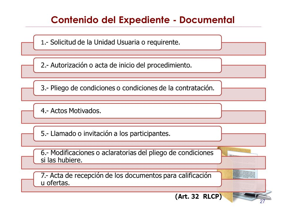 28 Contenido del Expediente - Documental (Art. 32 RLCP)
