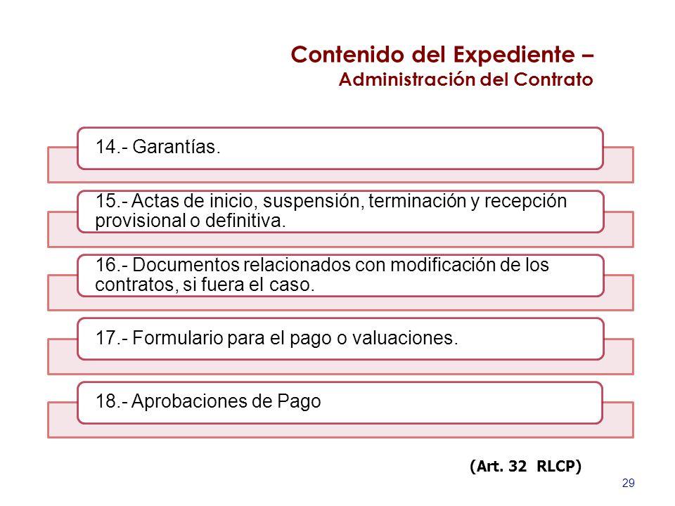 29 14.- Garantías. 15.- Actas de inicio, suspensión, terminación y recepción provisional o definitiva. 16.- Documentos relacionados con modificación d
