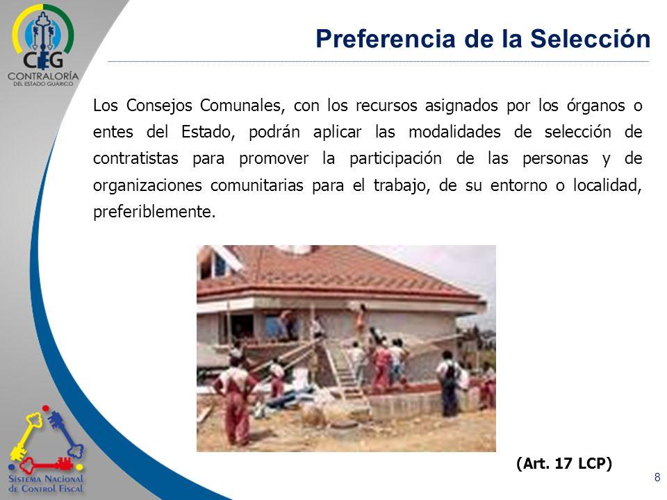 8 Los Consejos Comunales, con los recursos asignados por los órganos o entes del Estado, podrán aplicar las modalidades de selección de contratistas p