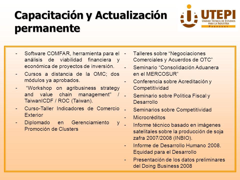 Capacitación y Actualización permanente -Talleres sobre Negociaciones Comerciales y Acuerdos de OTC -Seminario Consolidación Aduanera en el MERCOSUR -