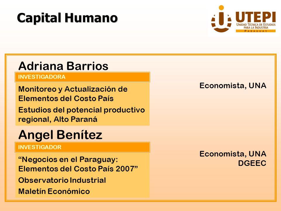 INVESTIGADORA Adriana Barrios Monitoreo y Actualización de Elementos del Costo País Estudios del potencial productivo regional, Alto Paraná Economista
