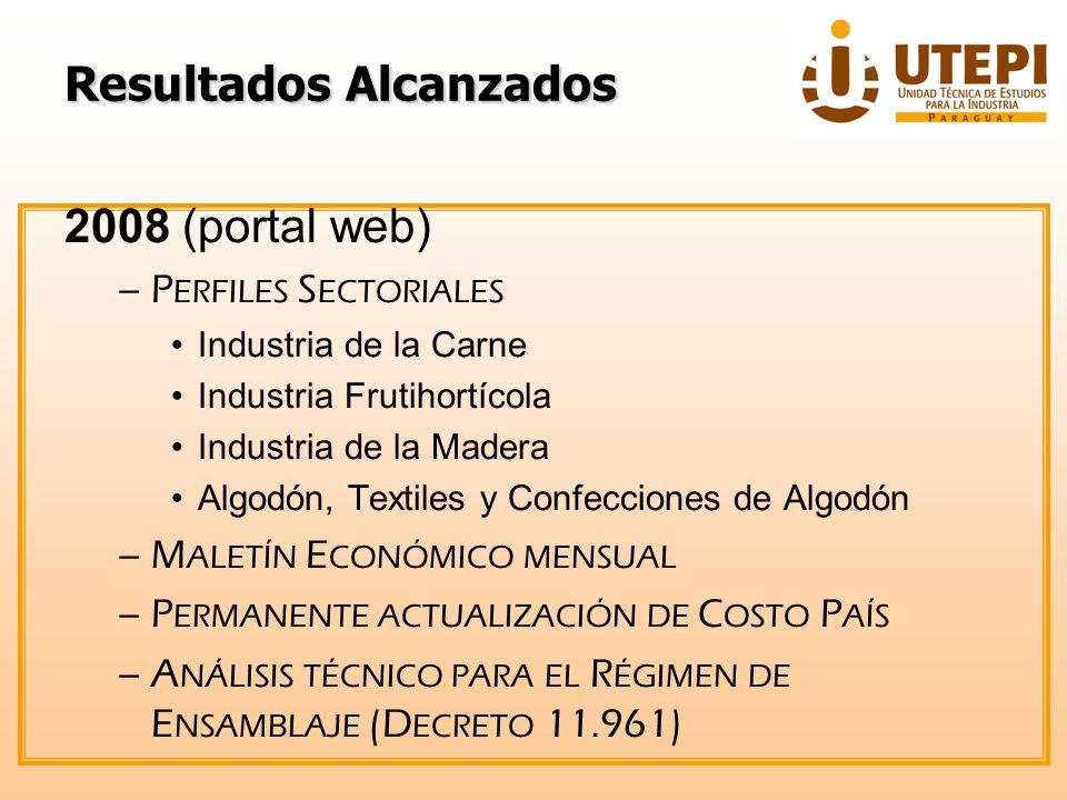 ResultadosAlcanzados Resultados Alcanzados 2008 (portal web) –I NFORMES COYUNTURALES Industria del Acero Confecciones Papel y cartón Insecticidas Informe del Sector Industrial (trimestral) –P RESENTACIÓN EN U NIVERSIDADES Boletín de Competitividad Industrial Negocios en el Paraguay: Elementos del Costo País