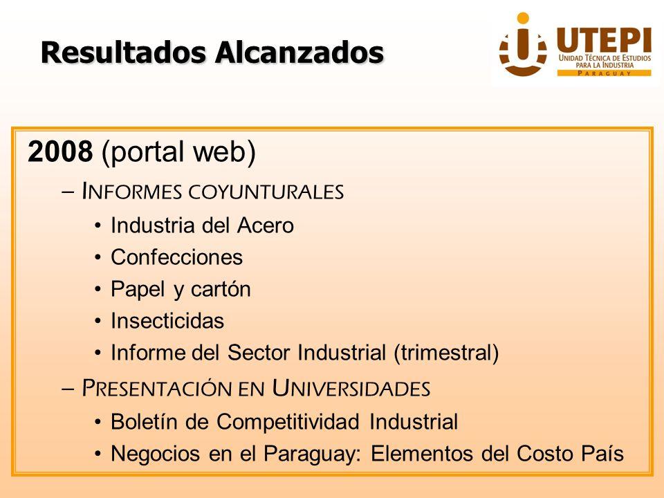 ResultadosAlcanzados Resultados Alcanzados 2008 (portal web) –I NFORMES COYUNTURALES Industria del Acero Confecciones Papel y cartón Insecticidas Info