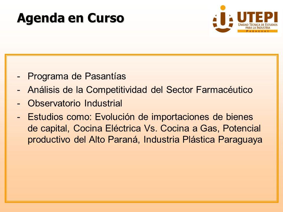 Agenda en Curso -Programa de Pasantías -Análisis de la Competitividad del Sector Farmacéutico -Observatorio Industrial -Estudios como: Evolución de im