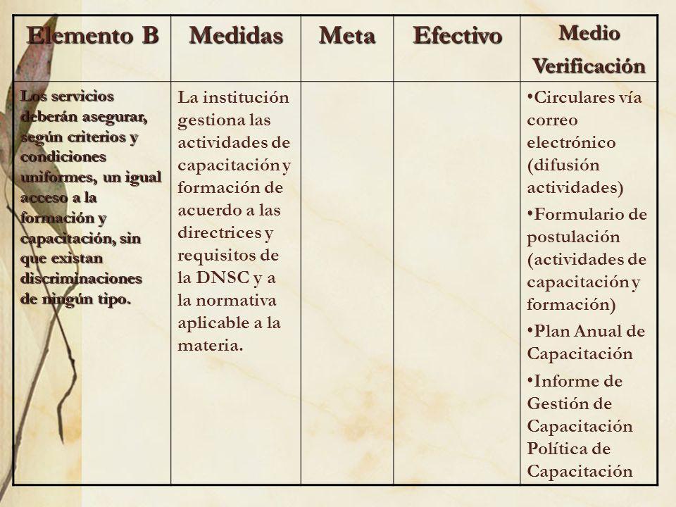 Elemento B MedidasMetaEfectivoMedioVerificación Los servicios deberán asegurar, según criterios y condiciones uniformes, un igual acceso a la formació