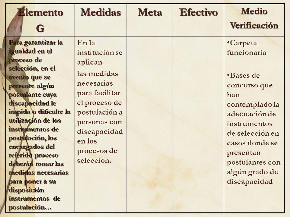ElementoGMedidasMetaEfectivoMedioVerificación Para garantizar la igualdad en el proceso de selección, en el evento que se presente algún postulante cu