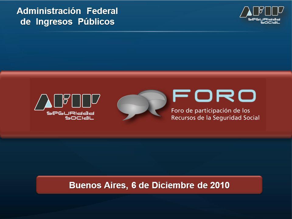 Administración Federal de Ingresos Públicos Buenos Aires, 6 de Diciembre de 2010