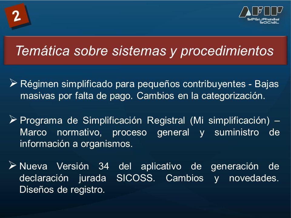 Temática sobre sistemas y procedimientos 2 Régimen simplificado para pequeños contribuyentes - Bajas masivas por falta de pago.