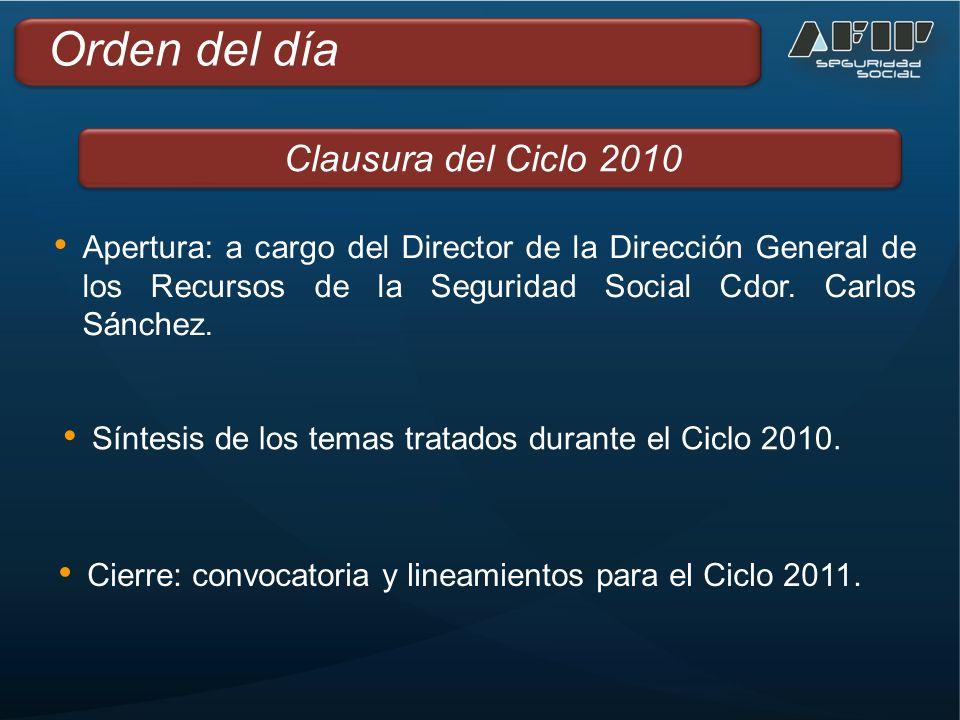 Apertura: a cargo del Director de la Dirección General de los Recursos de la Seguridad Social Cdor.
